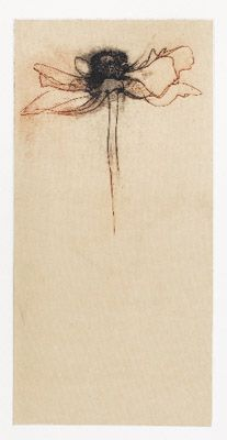 Make It Red I by Judy Lampe (edition of 10; photoetching, chine colle; 12 x 5 ½)