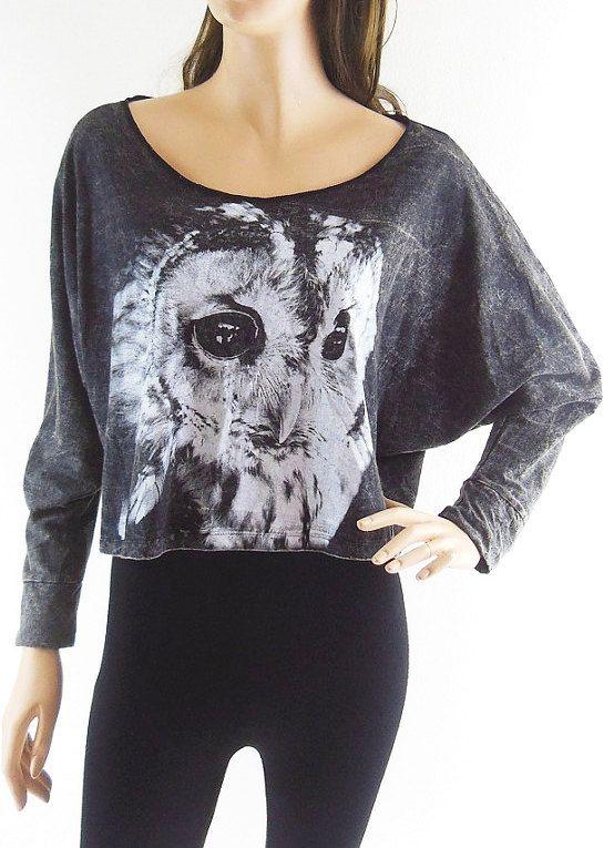 Owl T-Shirt Owl sweater Owl Shirt Animal T shirt Bat Sleeve Crop Top Bleach Black Long Sleeve Crop Sweater Screen Print Free Size