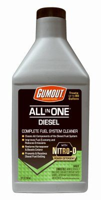 Gumout 510012 All-in-One Diesel Fuel System Cleaner, 32 fl. oz, 1 Pack - Gumout All-In-One Diesel Complete Fuel System Cleaner is a unique all season, multi-functional, diesel fuel additive. Unlike other diesel additives that just clean injectors, this product cleans the entire diesel fuel system using our potent Nitrogen-D power detergent and helps keep it clean.