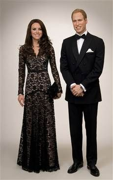 """This set of William and Kate wax figures,featured in the clothing they wore to the """"War Horse"""" premiere, are on display at Madame Tussauds in Amsterdam."""