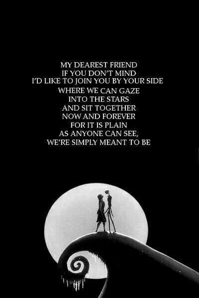 Jack Skellington and Sally - Tim Burton's Nightmare Before Christmas. This is sweet. Would like to include this poem to the wedding some how.