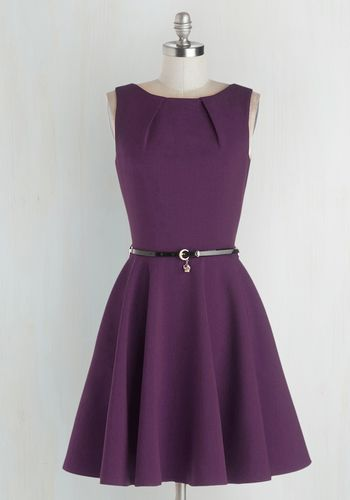 Luck Be a Lady A-Line Dress in Violet by Closet London - Purple, Solid, Belted, Sleeveless, Exposed zipper, Pockets, Boat, Variation, Basic, Best Seller, Work, Woven, Mid-length, Fit & Flare, Top Rated, Colorsplash, Spring, Vintage Inspired