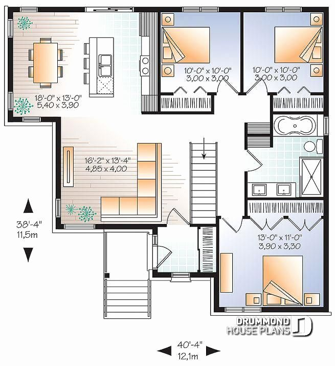13 Bedroom House Plans Beautiful 1st Level 3 Bedroom Modern Home Plan With Kitchen Island And In 2020 Bungalow Floor Plans Open Floor House Plans House Plans