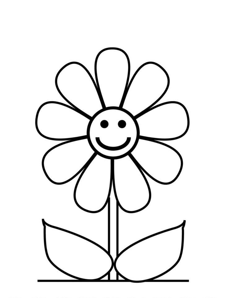 smiling flower coloring page preschool