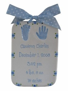 Baby Handprint Kit -- baby's birth details, clay, made by artists, posh nursery décor