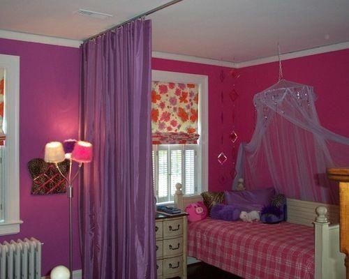 Lila Vorhang Raumteiler Eklektische Kinderzimmer Dekor