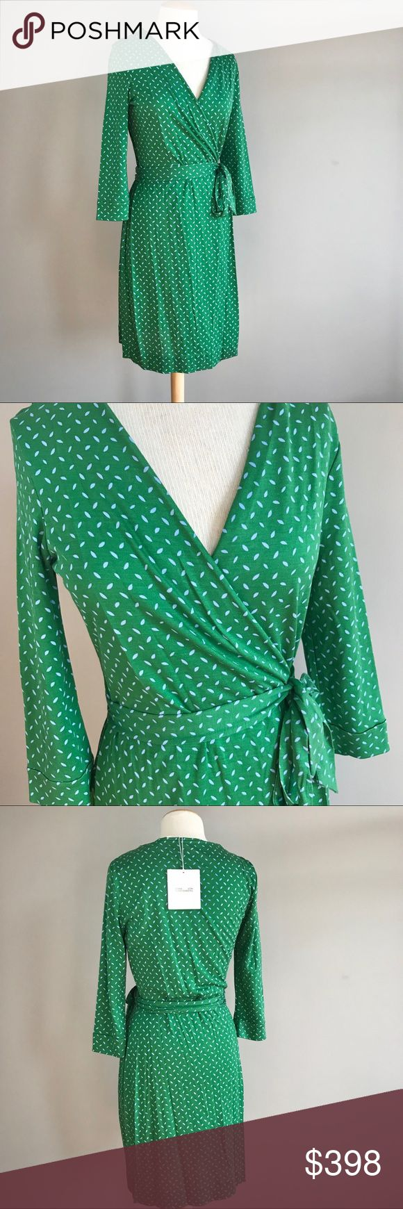 """Diane von Furstenberg Bromley green dot wrap dress Diane Von Furstenberg DVF Bromley Dot green wrap dress  A plunging neckline and three-quarter sleeves define the bodice, which is separated from the A-line skirt by a sash closure at the natural waist. True wrap style Unlined 100% silk matte jersey  Brand new with tags.   Approximate flat lay measurements: Length: 38"""" Bust across pit to pit: 19"""" AR4975 Diane Von Furstenberg Dresses"""