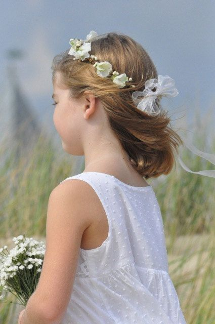 White sweet pea, hydrangea with berries, communion or flower girl hair wreath accessory.. $37.00, via Etsy.