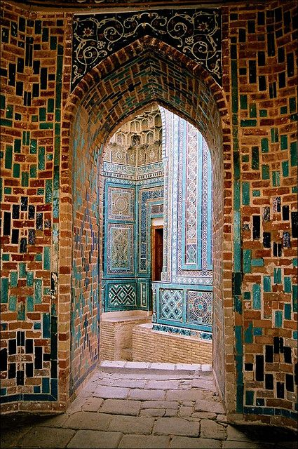 Shah-i-Zinda, Samarkand. Shah-i-Zinda is a necropolis in the north-eastern part of Samarkand, Uzbekistan. It is probably the grave of Qusam ibn-Abbas, a cousin of the Prophet Mohammed. (V)