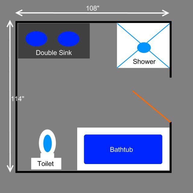 Visual Guide to 15 Bathroom Floor Plans: Full Bathroom Plans, Lots of Floor Space