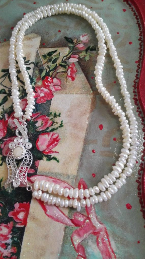 Necklace with two rows of natural pearls and decorative by AGiftBA