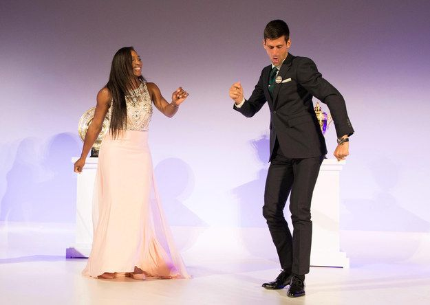 The Djoker served up some pretty smashing moves. | Wimbledon Champions Serena Williams And Novak Djokovic Dancing Together Is Disco Fabulous - BuzzFeed News