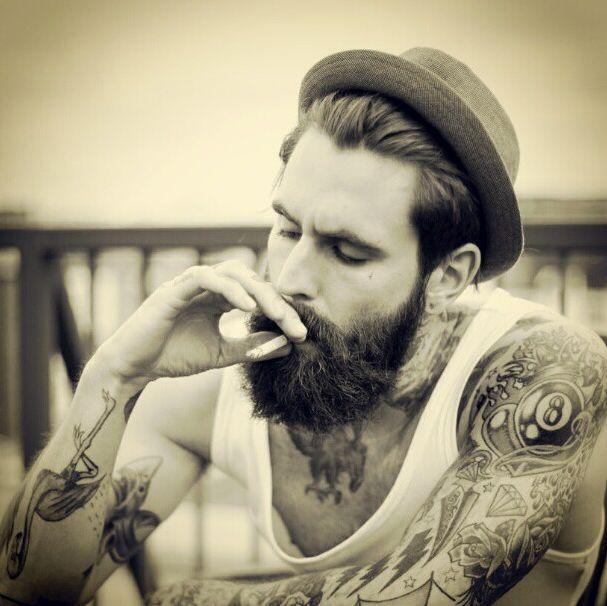 Vintage Hat Tattoos: Ricki Hall. True Style. Man. Fashion. Vintage. Hat. Beard