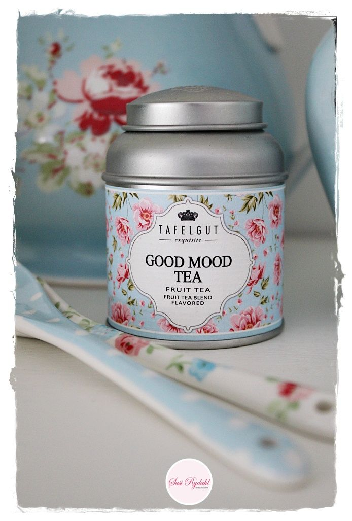 Tafelgut Tea's Good Mood Tea tin .... pink and blue floral pattern label on silver canister with sloping shoulder and dome cap lid, c. 2015, Germany