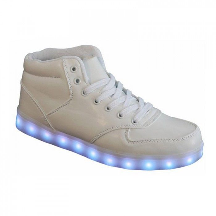Chaussure Montante Led Blanc, Chaussures Lumineuses Rechargeable