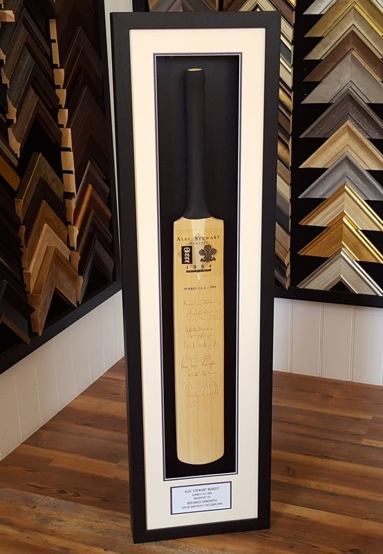 We've recently framed this cricket bat signed by the Surrey County Cricket Club​ in 1994 for the Alec Stewart​ Benefit.