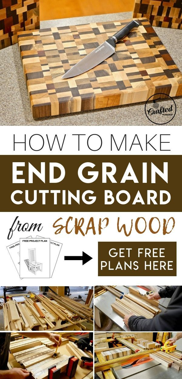DIY Woodworking Ideas How to make end grain cutting board from scrap wood for your kitchen. Unique des...