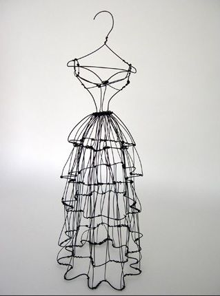 Original free standing wire sculpture dress form by Leigh Pennebaker