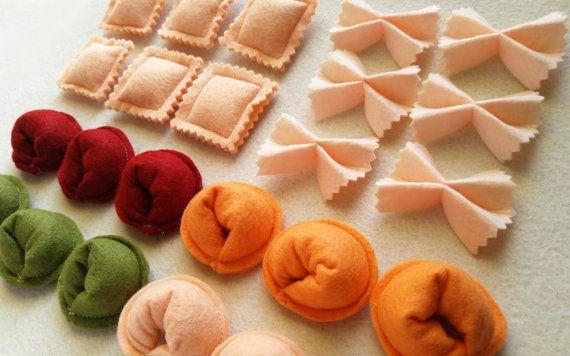 Set de Pasta, fideos Farfalle, corbata de lazo de fieltro, Tortellini, sentía jugar alimentos para niños, accesorio de juegos de simulación de cocina de juguete para juego imaginativo se sentía