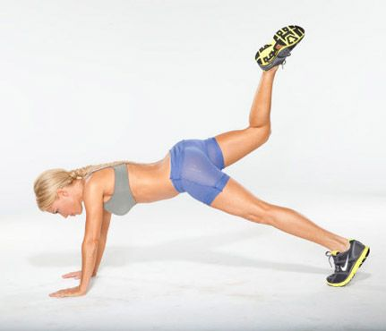 All-Over Move (Step 3): Bring hips back to start and lift right leg up and back, bending at knee with bottom of foot reaching toward ceiling.