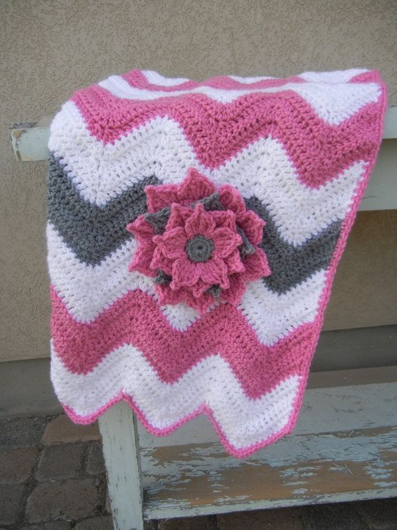 Chevron Baby Blanket Pink and Gray Baby Shower Gift by sexyl8dy