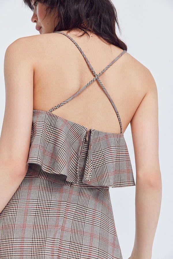 Slide View: 4: Cooperative Glenn Plaid Ruffle Mini Dress