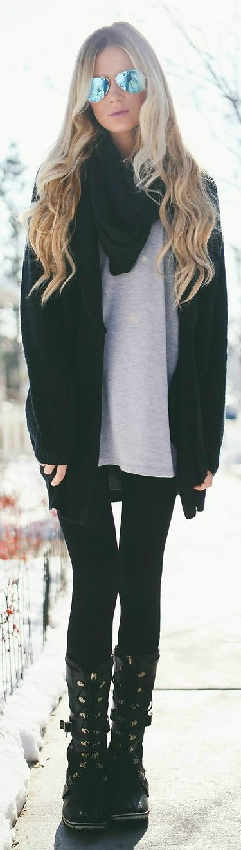 Women's Black Open Cardigan, Grey Long Sleeve T-shirt, Black Leggings, Black…