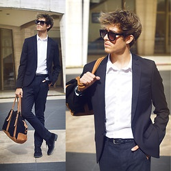 Glasses, Topman Blazer, H Shirt, Topman Trousers, River Island Bag, Zara Boots