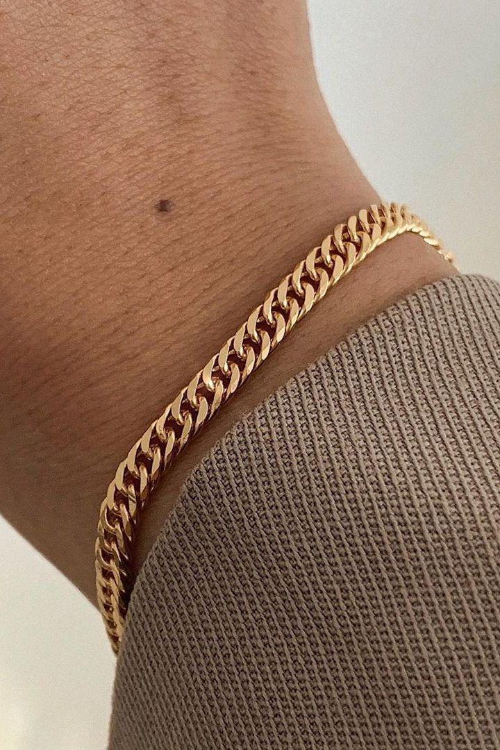 Gold Chain Bracelet 14K Gold 3mm Curb Chain Bracelet Cuban Link Bracelet Gift for Her Stacking Jewelry Dainty Chain Bracelet