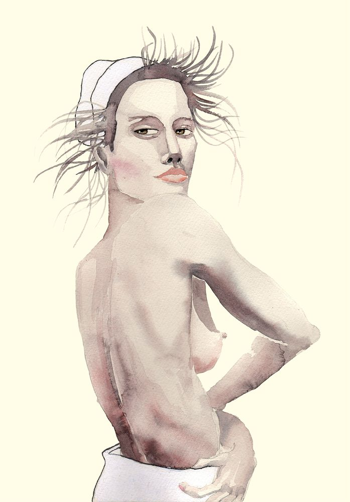 Image of 'Simone' Watercolor Art Print 30 x 40 cm  #illustration #painting #watercolor #fashion #drawing
