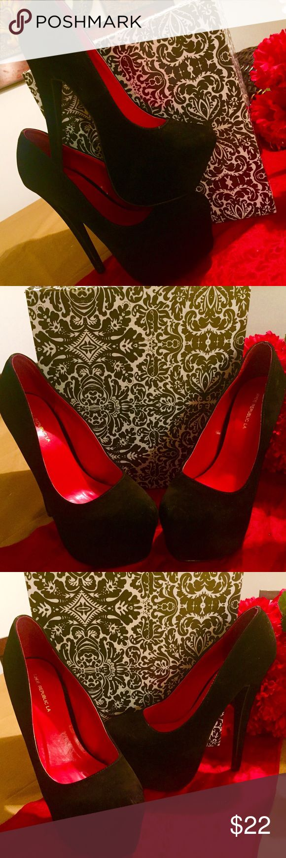Sexy Black Suede Red Interior HIGH Heels! ❤️ Sexy Black suede HIGH pumps with red interior! Super New...never used! Still has tag and box! VERY HIGH HEELS...For the professional heel walkers!! Bought from a Shoe Department, priced at $29.99! Size 10 but fits size 9. 1st come 1st serve!!! Like, Share, Buy! Love Yazzii❤️ Shoe Republic LA Shoes Heels