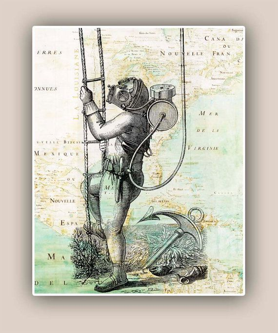 Nautical Old Diver 11x14 Print over Mexico Golf map,  Vintage image scuba diving,  Coastal Living, beach cottage decor