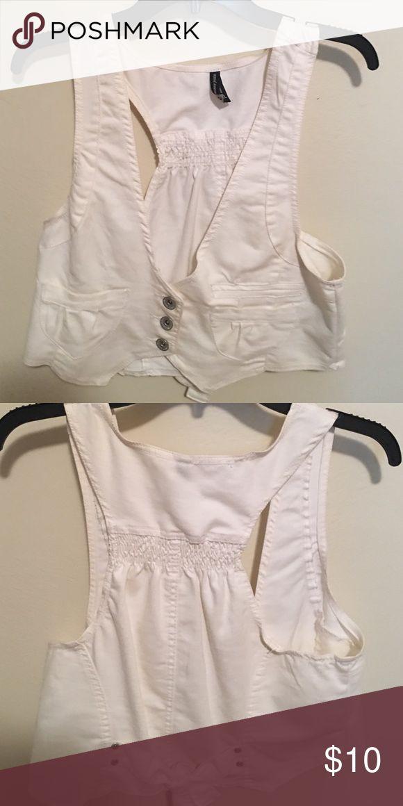 White vest Never worn white denim vest Tops