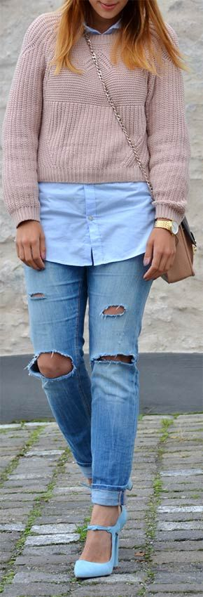 Light Blue Shirt + Nude Sweater + Statement Shoes