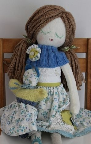 Blue girl with her own matching teddy