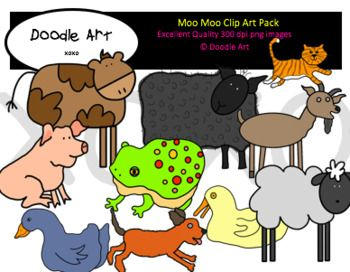 """This """"Moo Moo"""" Clipart collection includes all the images shown in the sample picture and more. This grouping is a parody of the book Moo Moo Brown Cow. They are adorable! This pack includes 48 different clips:  * Black line masters of all clips * Brown cow * Sheep * Goat * Pig * Dog * Kitty * Hen * Fish * Frog * Chicks * etc."""