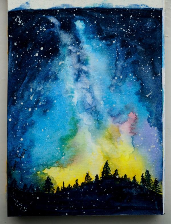 Forest In The Night Galaxy Acrylic Canvas Painting