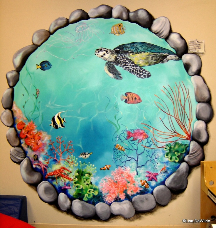 Best 25 aquarium mural ideas on pinterest for Aquarium mural