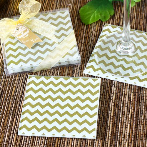 Gold Chevron Coasters by Beau-coup