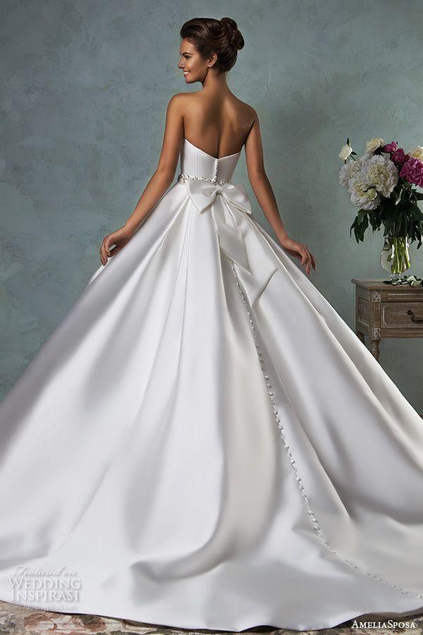 amelia sposa 2016 wedding dresses strapless sweetheart beautiful simple satin a line ball gown wedding dress melissa back