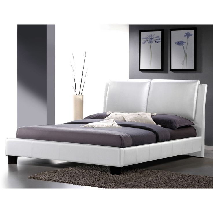 Sabrina White Modern Queen-size Bed with Overstuffed Headboard - Overstock Shopping - Great Deals on Baxton Studio Beds