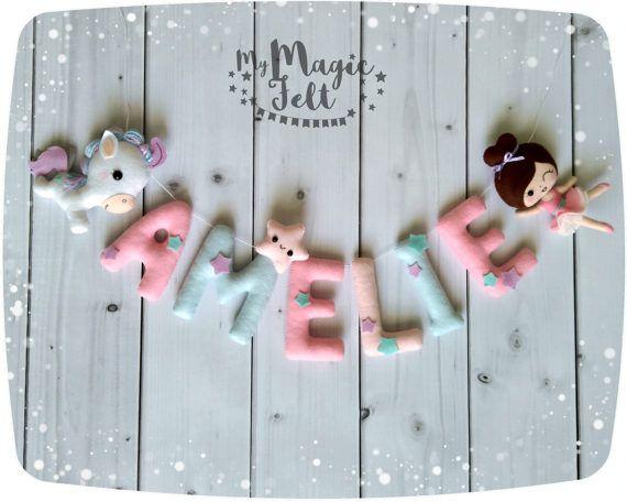 Felt name banner Ballerina Nursery Baby name bunting