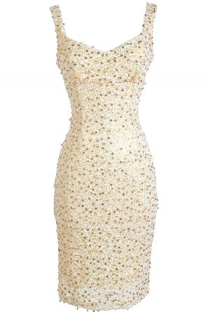 All That Shimmers Cream and Gold Paillette Dress: New Years Eve Dress!