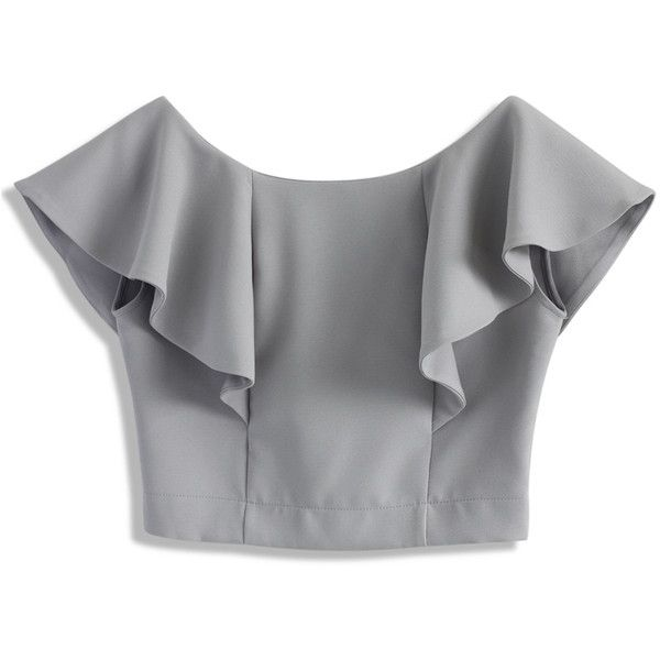 Chicwish Drift in a Friuli Grey Cropped Top ($36) ❤ liked on Polyvore featuring tops, grey, boat neck tops, frill top, gray top, bateau neck top and ruffle top