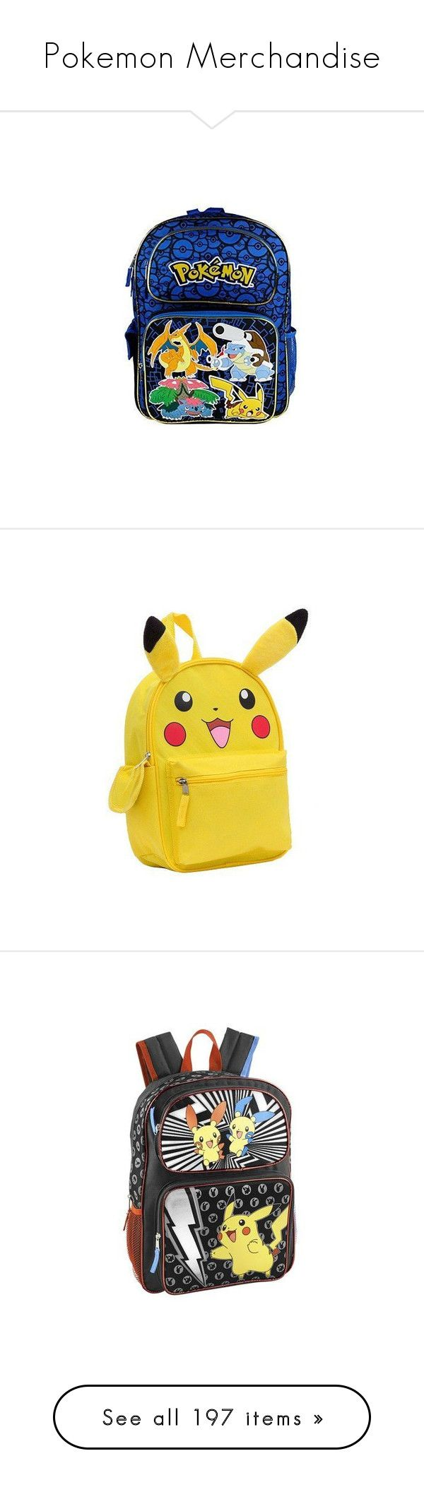 """""""Pokemon Merchandise"""" by candradeimos ❤ liked on Polyvore featuring bags, backpacks, blue bag, knapsack bag, day pack backpack, daypack bag, backpack bags, accessories, back pack and pokemon"""