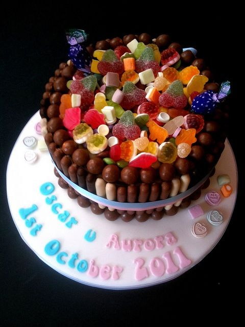 Cake easily decorated with shop bought sweets