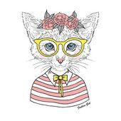 Китти Хипстер девушка в очках — стоковый вектор #54046899