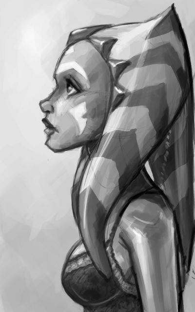 Ahsoka black & white