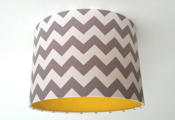 Grey Chevron Fabric & Yellow Vinyl Lampshade