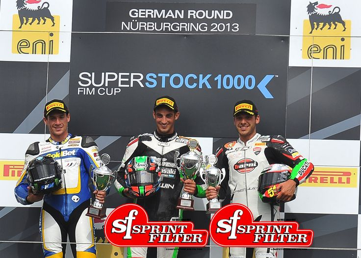 FIM Stk1000 Podium FIRST: Leandro Mercado (Kawasaki ZX-10R) THIRD: Niccolò Canepa (Ducati 1199 Panigale)